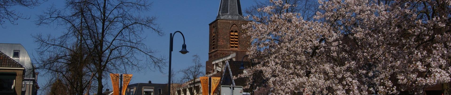 De binnenstad met fruitbomen die in bloei staan en de kerk op de achtergrond